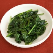 2 cups fresh chopped spinach with 1 1-2 tsp EVOO